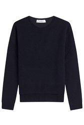 Valentino Cashmere Pullover With High Low Hem Blue