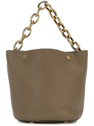 Marni Chain Strap Bucket Tote Green