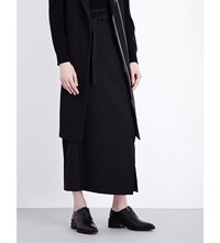 Ys Belted Wool Twill Maxi Skirt Black