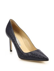 Manolo Blahnik Bb Embossed Patent Leather Pumps Navy