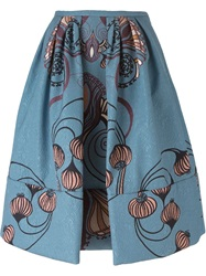Antonio Marras Floral Quilted Skirt Blue