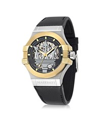 Maserati Potenza Two Tone Stainless Steel Case And Black Leather Strap Men's Watch Multicolor