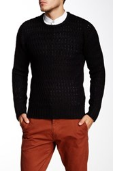 Yoki Crew Neck Open Knit Sweater Black