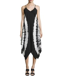 Philosophy Tie Dye Sleeveless V Neck Dress Black White