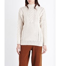 Pringle Of Scotland Cable Knit Cashmere And Wool Blend Jumper Clay
