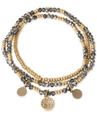 Kenneth Cole Gold Tone Beaded Disc Multi Layer Stretch Bracelet