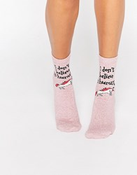 Asos Unicorn 'I Don't Believe In Humans' Ankle Socks Pink