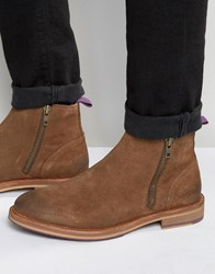 Asos Zip Boot With Coloured Back Pull And Sole Brown