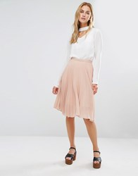 Fashion Union Midi Skirt In Pleated Fabric Nude Pink