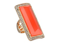 Guess Faceted Elongated Rectangular Stone Ring Gold Crystal Coral Ring