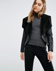 Barney's Original Pu Jacket With Faux Fur Collar Black