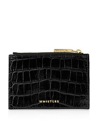 Whistles Shiny Croc Embossed Coin Case Black