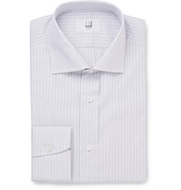 Dunhill Grey Slim Fit Striped Cotton Shirt Light Gray