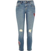 River Island Womens Blue Embroidered Alannah Relaxed Skinny Jeans