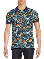 J. Lindeberg Tropical Print Polo Shirt Dark Navy