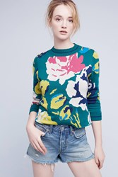Anthropologie Laine Floral Pullover Green Motif