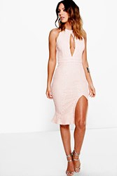 Boohoo Kaya Lace Keyhole Peplum Midi Dress Blush