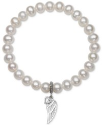 Macy's Cultured Freshwater Pearl 7Mm Wing Charm Stretch Bracelet Silver