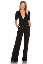 3X1 Plunge Neck Jumpsuit Black