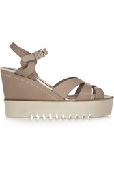 Paloma Barcelo Leather Wedge Sandals Brown