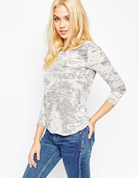 Asos Top With Long Sleeve In Burnout Fabric Grey
