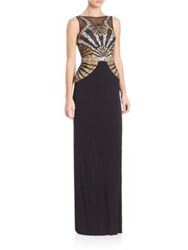 Basix Black Label Metallic Beaded Gown Black Gold