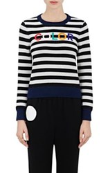 Lisa Perry Women's Color Embroidered Wool Cashmere Sweater Black White No Color Black White No Color