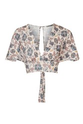 Floral Kimono Sleeve Crop Top By Love Multi