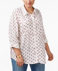 Styleandco. Style Co. Plus Size Mixed Print Shirt Only At Macy's Diamond Dot