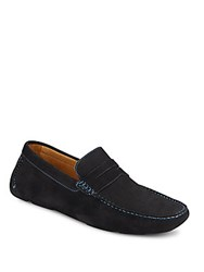 Saks Fifth Avenue Suede Penny Drivers Navy