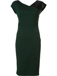 Vionnet Leather Insert Dress Green