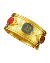 Elizabeth Locke Cherub Venetian Glass Intaglio Bangle Neutral