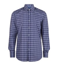 Boss Checked Casual Shirt Male Navy