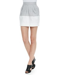 L'agence Three Pleat Colorblocked Mini Skirt Grey Chalk