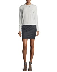 Brunello Cucinelli Long Sleeve Colorblock T Shirt Dress Vanilla Gray