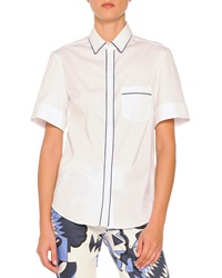 Piazza Sempione Short Sleeve Contrast Piped Blouse White