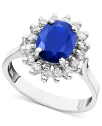 Effy Collection Royalty Inspired By Effy Sapphire 2 Ct. T.W. And Diamond 1 2 Ct. T.W. Oval Ring In 14K White Gold