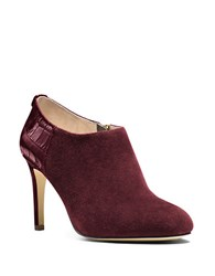 Michael Michael Kors Sammy Suede And Crocodile Embossed Ankle Boots Merlot