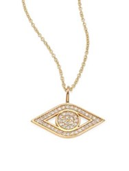 Sydney Evan Small Pave Evil Eye Diamond And 14K Yellow Gold Pendant Necklace