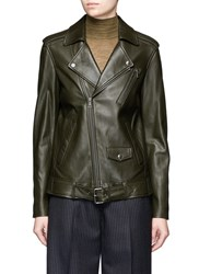 Theory 'Tralsmin' Belted Lambskin Leather Moto Jacket Green