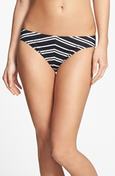 W Swimwear Chevron Hipster Bikini Bottoms Black White