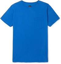 Albam Slim Fit Garment Dyed Cotton Jersey T Shirt Blue