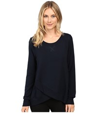 Midnight By Carole Hochman Lounge French Terry Long Sleeve Top Women's Pajama Navy