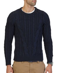 Nautica Mapped Cable Knit Sweater Navy