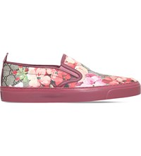 Gucci Board Blooms Canvas Skate Shoes Pink Comb