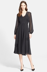 Nordstrom Signature And Caroline Issa Embroidered Silk Chiffon Dress Black Circle Dot Print