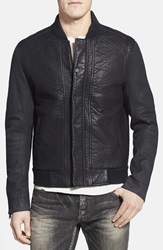 Rogue Faux Leather Varsity Jacket With Denim Sleeves Black