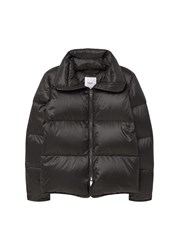 Mango Quilted Feather Coat Black