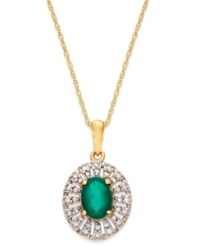Macy's Emerald 9 10 Ct. T.W. And Diamond 1 8 Ct. T.W. Pendant Necklace In 14K Gold Yellow Gold
