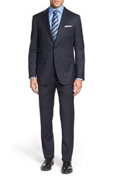 Men's Big And Tall Pal Zileri Classic Fit Solid Wool Suit Navy